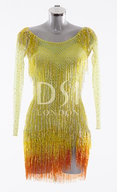 Sunrise Latin Dress as worn by Caroline Flack on Strictly Come Dancing 2014. Designed by Vicky Gill and produced by DSI London