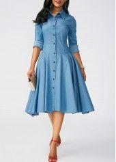 Asymmetric Hem Turndown Collar Blue Dress