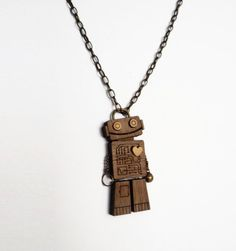Robot Necklace by Vectorcloud on Etsy
