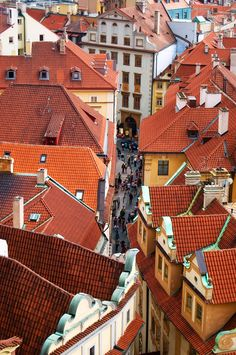 The roofs of Prague's Old Town, Czech Republic