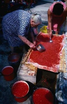 Woman preparing tomato sauce, Aeolian Islands, Sicily
