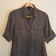 H & M military style button down tee Linen feeling. Wrinkled from storage, in good used condition. H&M Tops Button Down Shirts