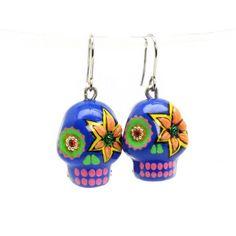 http://www.goodiemud.com  Skull Day of Dead El dia de los muerto Earrings, Mini ceramic skull hang from Rhodium Dangle Ear Wire.