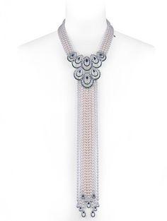 Peacock Akoya pearl, diamond, sapphire, garnet, aquamarine and tanzanite necklace by Mikimoto