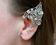Elven ears (a pair). Earcuffs, Elf ears, cosplay fantasy decoration for ears elven ear ear cuff elvish earring elf ear Ear Jewelry, Crystal Jewelry, Crystal Earrings, Jewelry Gifts, Fine Jewelry, Skull Jewelry, Hippie Jewelry, Black Jewelry, Jewellery