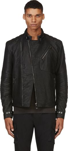 Belstaff Black Grained Leather Kendal Jacket