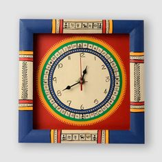 Warli Handpainted Clock 10*10 Inch Red | #simple #Clocks&Timepieces #Decor #simple, #Clocks&Timepieces, #Decor,