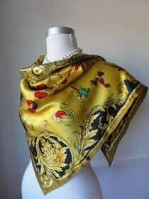 Versace silk scarf, Autumm Leaves Nature 90's, original http://auction.catawiki.com/kavels/472395-versace-atelier-silk-scarf-autumm-leaves-nature