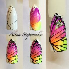 Super Cute Ideas for Summer Nail Art - Nailschick Butterfly Nail Designs, Butterfly Nail Art, Nail Art Designs, Diy Nails, Cute Nails, Pretty Nails, Spring Nails, Summer Nails, Sculpted Gel Nails