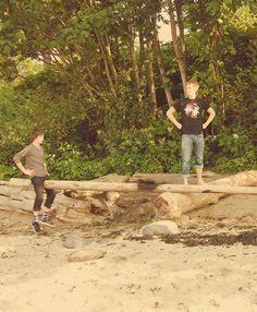 Logan Lerman and Jake Abel near the beach. Very nice.