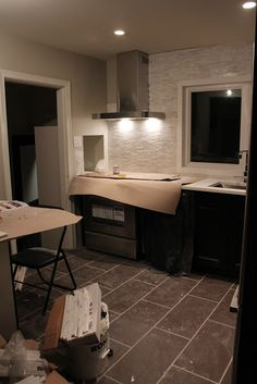 Color Combination Ikea Ramsjo Black Brown Kitchen With Marble Wall Tile And Grey Floor Tiles