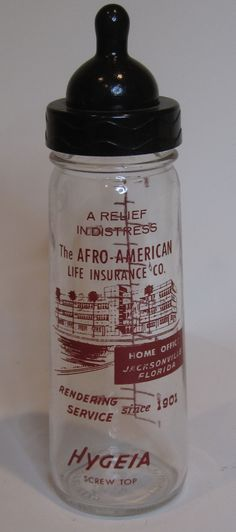Baby bottle given to new mommies from the African American Life Insurance Company. This business operated from 1909-1990 in Jacksonville, FL. Besides having all of the paperwork, what makes this interesting is the black Bakelite nipple. >>> iantiqueonline.ning.com