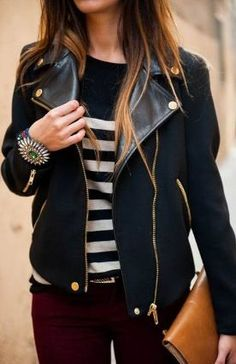 maroon pants, black striped shirt, black leather jacket