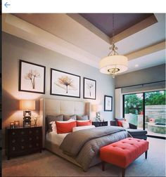Neutral grays and accents of orange