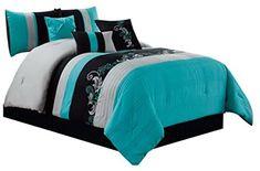 bedding sets: Home & Kitchen Teal Comforter, Queen Comforter Sets, Queen Beds, Wood Headboard, Bedroom Plants, California King, Bed Frame, Home Kitchens, Comforters
