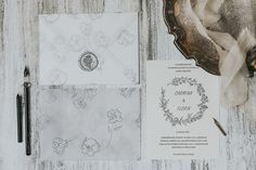 Velum envelope for cotton paper wedding invitation. A hand drawn wreath is the central piece to outline the names of the grooms. Wax seal to complete the delicate look. Wedding Invitation Design, Wedding Stationery, Wedding Paper, Wedding Day, Wreath Drawing, Envelope Liners, Wax Seals, Silk Ribbon
