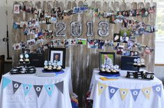 Use mini clothespins and ribbon to display pics of the grad through the years!