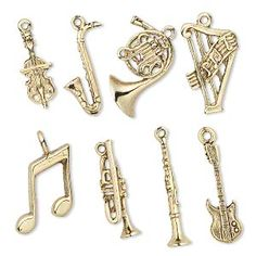 Violin, saxophone, french horn, harp, eighth notes, trumpet, clarinet, guitar.