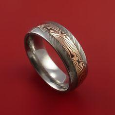 Damascus and 14k ROSE GOLD Mokume Gane Ring Custom Made SHAKUDO Style