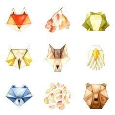Animaux géométriques - choisir 3 Singles