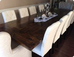 11 ft Rustic Plank Dining Room Table  budget friendly chairs that had the tufted linen upholstered look wanted.