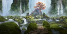Waterfall, kalen chock on ArtStation at https://www.artstation.com/artwork/waterfall