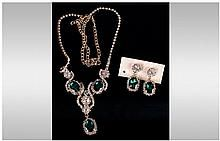 Emerald Green and White Crystal Necklace and Earrings Set, three oval faceted emerald green crystals in an Art Nouveau style white crystal setting, th