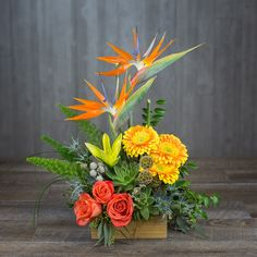 Send Tropical Daze by Twinbrook in Chantilly, VA from Twinbrook Floral Design, the best florist in Chantilly. All flowers are hand delivered and same day delivery may be available. Red Rose Arrangements, Tropical Floral Arrangements, Tropical Flowers, Exotic Flowers, Spring Flowers, Beautiful Flowers, Flowers Garden, Purple Flowers, Colorful Flowers