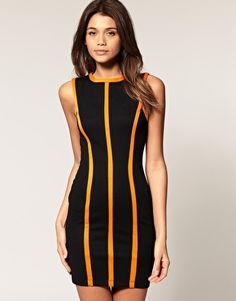 ASOS Shift Dress With Neon Seams - StyleSays
