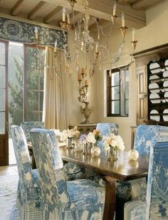 french country checked table. i love hydrangea's, but the