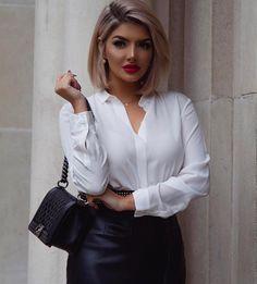 "10.5k Likes, 83 Comments - • S H E I D A • (@sheidafashionista) on Instagram: ""• White Shirt✖️Leather Skirt • #Blouse @massimodutti #Skirt @zara #Bag @chanelofficial …"""