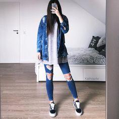 13.3 тыс. отметок «Нравится», 123 комментариев — @kathiischr в Instagram: «OOTD - denim love best oversize denim jacket from @seamlessfashion ✨…»