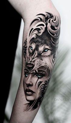 230 beste Wolf Tattoos im Internet [Femininas e Masculinas] - Tattoo Forarm Tattoos, Face Tattoos, Badass Tattoos, Sexy Tattoos, Body Art Tattoos, Tattos, Wolf Tattoo Design, Tattoo Designs, Wolf Girl Tattoos