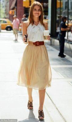 White tank top creamy skirt