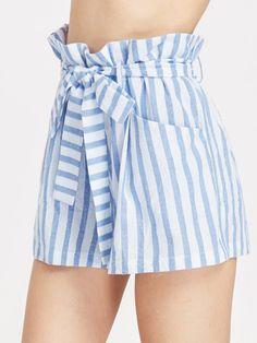 Belted Ruffle Waist Striped Shorts