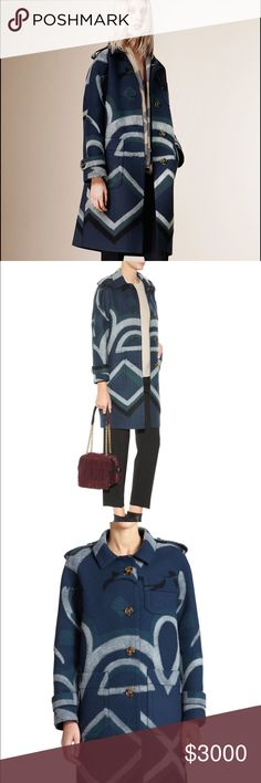 Burberry Prorsum Geometric Cashmere Coat Pre-Fall 2015. Retails 4,000$ plus tax. Size 40 Italy. Medium sized. I'm an xxs or petite and it looks fine, meant to be over sized and roomy. Made in Italy. Collectors Item Burberry Jackets & Coats