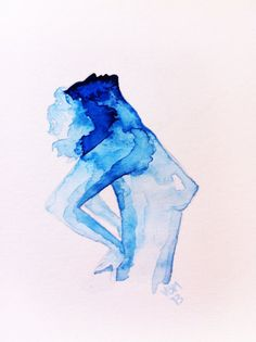 "Fine Art Print, Watercolor, ""Charlena"" 8 x 10 by ArtbyVBM on Etsy, $19.00 #blue #nude"