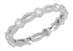 Art Deco Filigree Hand Engraved Diamond Wedding Ring in 14 Karat White Gold $1345 - http://www.antiquejewelrymall.com/r458w.html