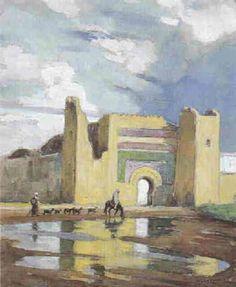 Berger devant Bab Khemis, Meknès von Edouard Edmond Doigneau