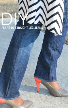{DIY} Flare to Straight Leg Jeans