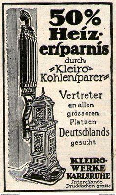 Original-Werbung/ Anzeige 1913 - KLEIRO KOHLENSPARER - KARLSRUHE - Ca. 40 X 65 Mm - Werbung