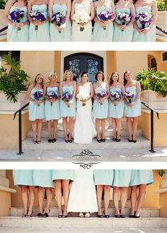 Soft blue colors of the bridesmaids and bouquets with deep purple blue and white. Photo by Kansas Studios