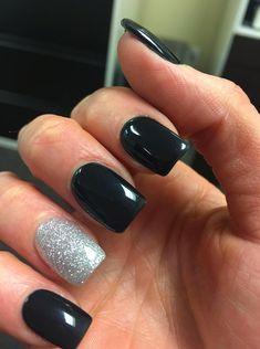 Black and silver nails prom nails black nails, nails и trend Black Silver Nails, Sliver Nails, Silver Acrylic Nails, Blue Nails, Black Gel Nails, Sparkle Nails, Silver Glitter, Homecoming Nails, Prom Nails