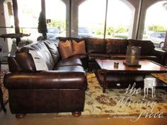 """Thomasville 4 piece leather sectional in a dark chocolate brown. Perfect for a spacious room that hosts guests often; Everyone could fit on this comfortable piece! Sells for $5,800 new! 148""""long x 119""""wide x 36""""high.  Arrived: Friday October 21st, 2016"""