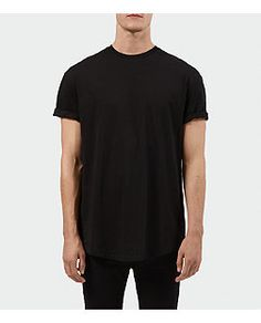 Black Longline Zip Side Crew Neck T-Shirt | New Look