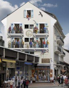 Patrick Commecy es un artista que milita en la disciplina de la pintura mural. Junto asu equipo se dedica a transformar las fachadas de los edificios deshabitados y descuidados de Francia…https://redespress.wordpress.com/2016/07/22/patrick-commecy-el-pintor-de-fachadas/