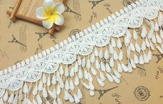 3 yards Width 3.54 inches ivory lace trim,flowers embroidered lace,floral lace trim for bridal veil,scalloped trim lace for DIY dress(130-1)