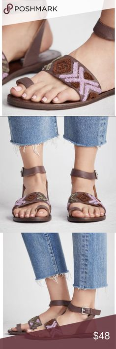 FREE PEOPLE Ankle Wrap Leather SANDALS Flats BRAND NEW in Box!! Leather Slip-on sandal with a toe strap and leather strap featuring a tribal-inspired textile design. Adjustable wrapped ankle strap. Size: 8.   🌟BRAND NEW in Box!!🌟 Free People Shoes Sandals