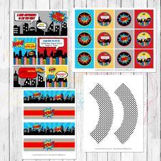 Comic Superhero Printable Party Package by LemonberryMoon on Etsy