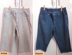 Aprenda como tingir suas roupas jeans. Recupere aquela calça jeans desbotada ou muda a cara do shortinho! É fácil e barato customizar jeans!